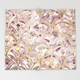 Dusty Rose and Coral Art Deco Marbling Pattern Throw Blanket