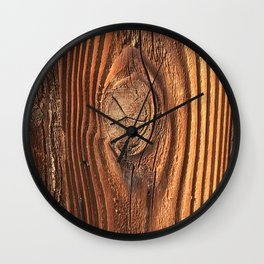 Honey Colored & Mahogany-Red Wood With Elegant Knot Wall Clock