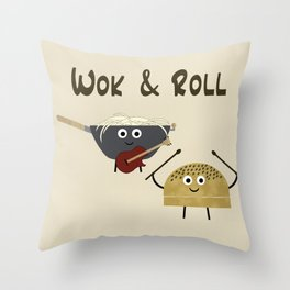 Wok & Roll (with hair) Throw Pillow
