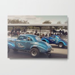 Blue Vintage Willys Gasser Hot Rods Drag Racing Metal Print
