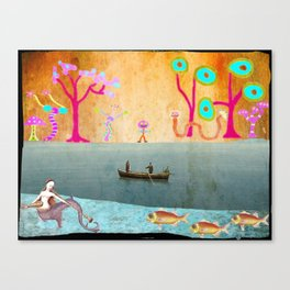 Row Boating to Monster Island Canvas Print