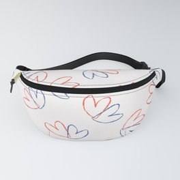 Brush Stroke Lovers Hearts Tossed Seamless Pattern Fanny Pack