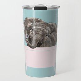 Baby Elephant in Bathtub Travel Mug