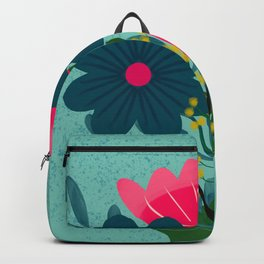 Blue Pink Bouquet Backpack