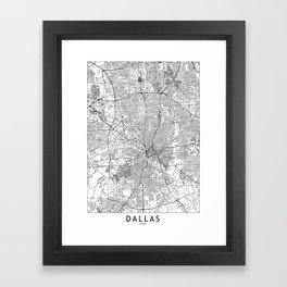 Dallas White Map Framed Art Print