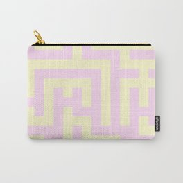 Cream Yellow and Pink Lace Labyrinth Carry-All Pouch