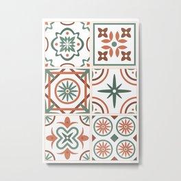 Talavera Spanish Tile - Rust & Sage Metal Print