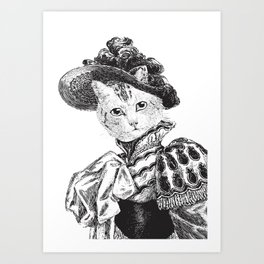 Pussycat Portrait | 2 of 2 | The Owl and the Pussycat Set | Anthropomorphic Cat | Black and White | Art Print