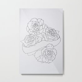 Roses and Banner Outline Metal Print