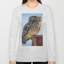 Cute Barn Owl Making Eye Contact Vector Long Sleeve T-shirt