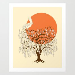 weeping willow, pelican and sun Art Print