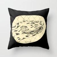 crocodile Throw Pillows featuring Crocodile by Mr. JJ