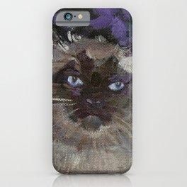Ragdoll Cat and the Hollyhocks iPhone Case