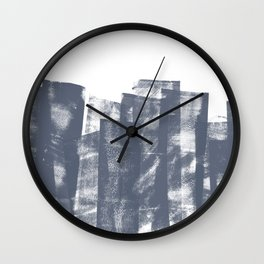 Rolled Ink Texture in Dark Blue Gray and White Wall Clock