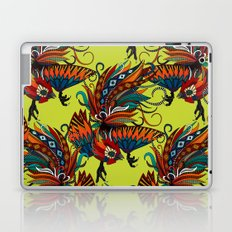 rooster ink chartreuse Laptop & iPad Skin