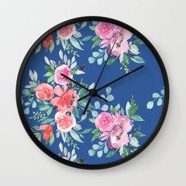 Blue Floral Bouquet Wall Clock