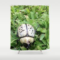 beetle Shower Curtains featuring Beetle by Lillian Ondus