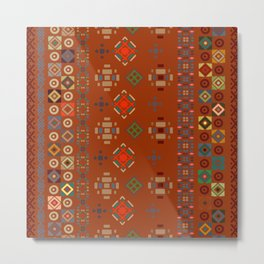Rust Boho Geometric Pattern Metal Print