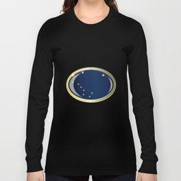 Alaska State Flag Oval Button Long Sleeve T-shirt