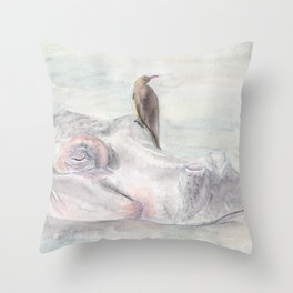 """Watercolor Painting of Picture """"Hippopotamus"""" Throw Pillow"""