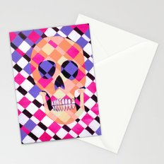 skulladelic pink plaid Stationery Cards