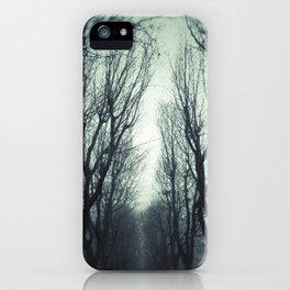 Avenue in the winter fog iPhone Case