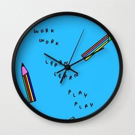 Nursery Illustration Colorful Pencils Wall Clock