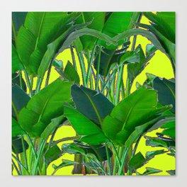 DECORATIVE TROPICAL GREEN FOLIAGE & CHARTREUSE ART Canvas Print