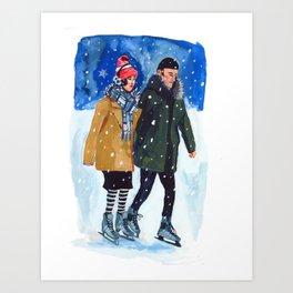 Winter Skaters Art Print