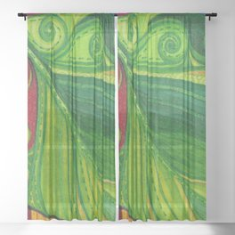 Fabric leaf square Sheer Curtain