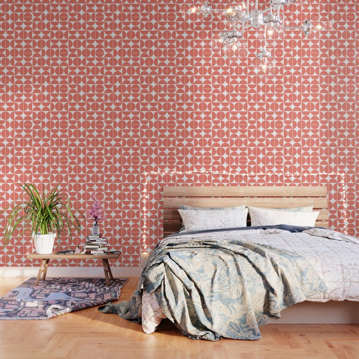 Mid Century Modern Geometric 04 Living Coral Wallpaper
