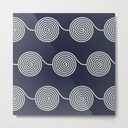 Yacht style. Rope spirals. Navy blue. Metal Print