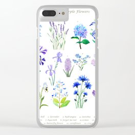 blue and purple flower collection watercolor Clear iPhone Case