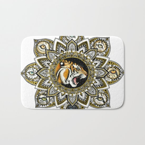 Black and Gold Roaring Tiger Mandala With 8 Cat Eyes Bath Mat