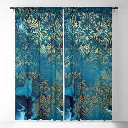 Modern Aqua Blue Ink Wash Gold Grunge Damask Overlay Blackout Curtain