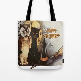 Owl and Cat Halloween Tote Bag