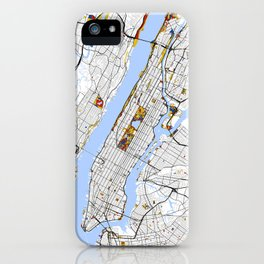 New York City Map United States Mondrian color iPhone Case