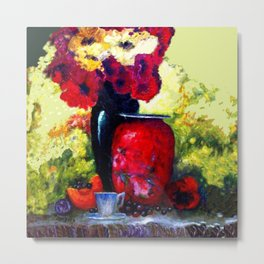 Poppies and Red and Black Vase Still Life Metal Print