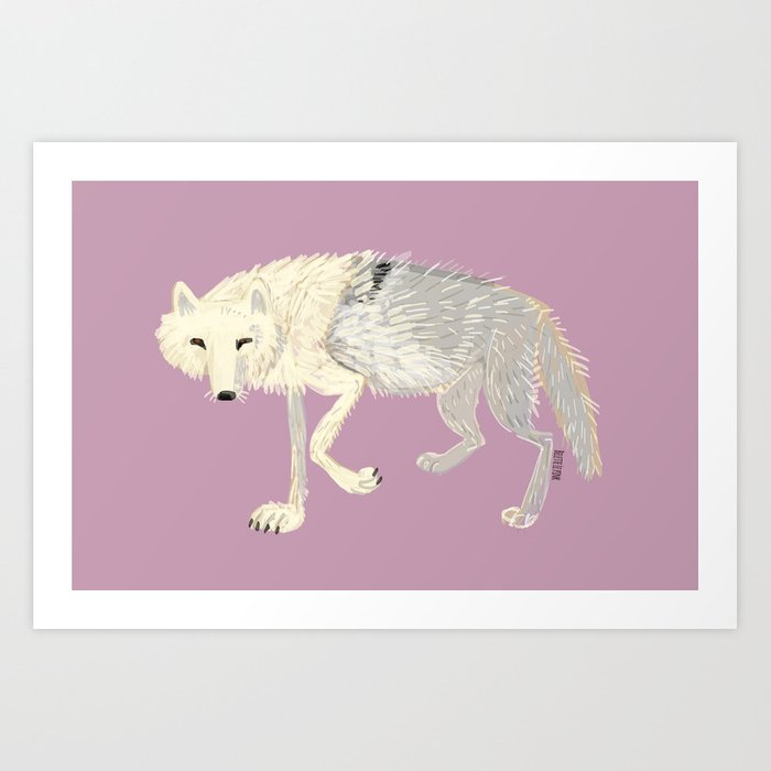 Wolves of The world: Artic Wolf (Canis lupus arctos) (c) 2017 Art Print