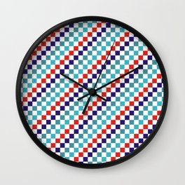 Gridded Red Tale Blue Pattern Wall Clock