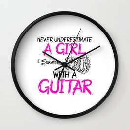 a girl with a guitar Wall Clock
