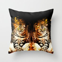 cat sitting like human ws std Throw Pillow