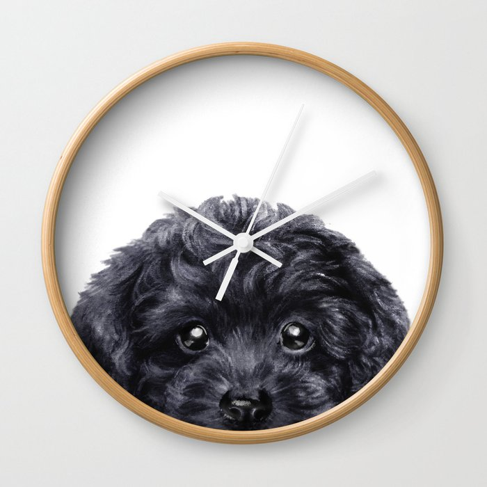 Black toy poodle Dog illustration original painting print Wall Clock