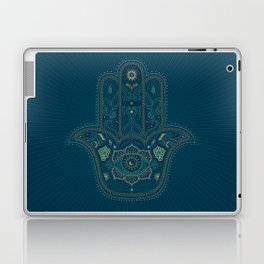 Hamsa Hand in Blue and Gold Laptop & iPad Skin