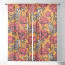 Wrens in a red anemone garden     Sheer Curtain