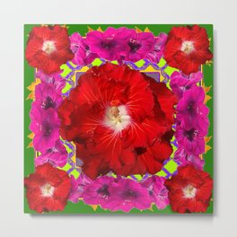 Tropical Red Hibiscus & Fuchsia Florals Green Color Metal Print