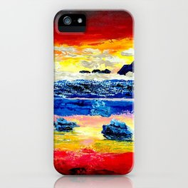 Twilight glow above dark mountains, Crimson Sea sunset around  small islets  of sirens iPhone Case