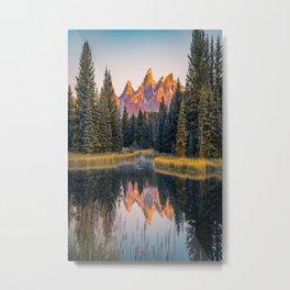 Wyoming Sunrise Mountain Lake Reflection Metal Print