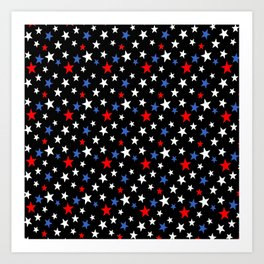 Bold Patriotic Stars In Red White and Blue on Black Art Print