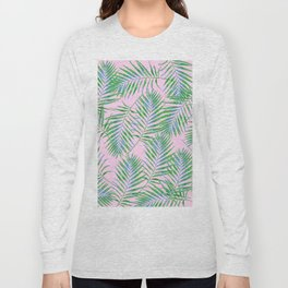 Fern Leaves Pink Long Sleeve T-shirt